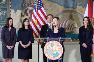 Justice Barbara Lagoa speaking during a press conference