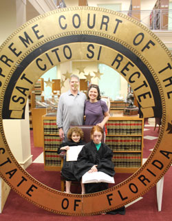 A family visiting the Florida Supreme Court during Law Day Open House.