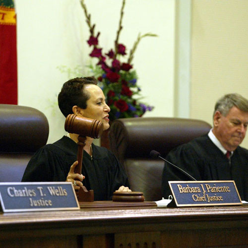 Justice Barbara J. Pariente pounding the gavel moments after she was sworn as Florida's 51st Chief Justice.