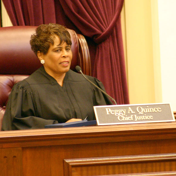 Peggy A. Quince when she presided over the Florida Supreme Court as its 53rd Chief Justice from 2008 to 2010.